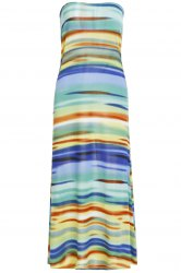 Stylish Mid-Waisted Printed Colorful Women's Maxi Skirt - COLORMIX