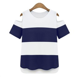Chic Color Block Striped Shoulder Cut Out Chiffon T-Shirt For Women