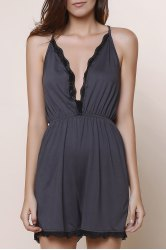 Spaghetti Strap Criss-Cross Backless Deep V Romper
