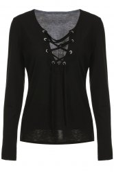 Low Cut Lace-Up Tee - BLACK S
