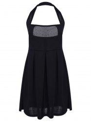 Sexy Halter Sleeveless Low Cut Solid Color Women's Dress - BLACK