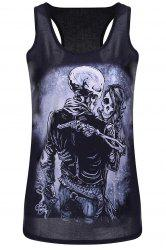 Scoop Neck Skull Print Racerback Tank Top