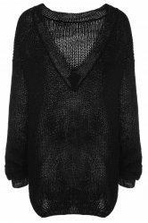 Trendy Scoop Collar Long Sleeve Black Loose-Fitting Women's Sweater - BLACK