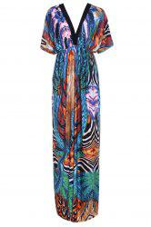 V Neck Printed Maxi Dress with Sleeves -