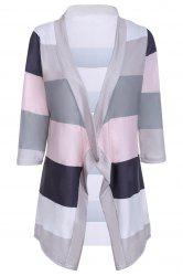 Stylish Collarless 3/4 Sleeve Striped Irregular Asymmetric Cardigan For Women - GRAY S