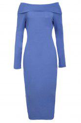 Off-The-Shoulder Long Sleeve Bodycon Midi Dress - BLUE