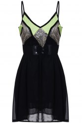 Sexy Style Spaghetti Strap Sleeveless Sequins Embellished Loose Dress For Women - BLACK
