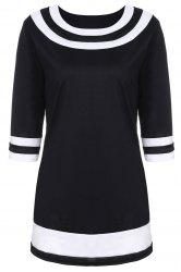 Brief Round Collar Color Spliced 3/4 Sleeve Dress For Women