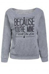 Casual Style Scoop Neck Long Sleeve Letter Print Women's T-Shirt - GRAY S