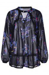 Stylish Keyhole Neck Long Sleeve Floral Print Women's Chiffon Blouse