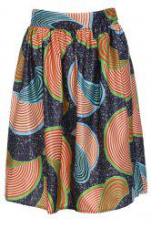 Printed High Waist A Line Skirt - COLORMIX S