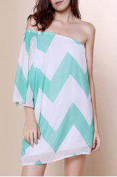 One Shoulder Chevron Print Mini Chiffon Casual Dress