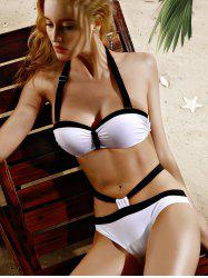 Halter Sexy Hit Bikini Set Couleur Cut Out Femmes - Blanc 2XL