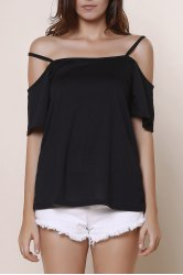 Sexy Spaghetti Strap Solid Color Short Sleeve T-Shirt For Women - BLACK
