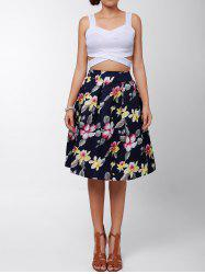 Vintage High-Waisted Floral Print Ruffled Women's Midi Skirt - RED