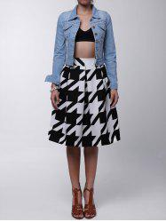 Vintage High-Waisted Houndstooth Ruffled Women's Midi Skirt - WHITE AND BLACK