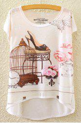 Stylish Round Neck Short Sleeve Floral and Butterfly Print High-Low Hem T-Shirt For Women -