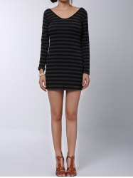 Stylish V-Neck Long Sleeves Striped Long Sweater For Women