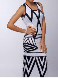 Sleeveless Printed Chevron Jersey Maxi Dress - WHITE AND BLACK