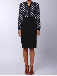 Formal V-Neck Polka Dot Splicing High-Waisted Long Sleeve Dress For Women - BLACK