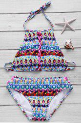 Stylish Halter Criss-Cross Strap Gem Printed Bikini Set For Women