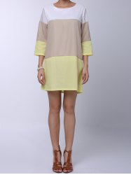 Casual Round Neck 3/4 Sleeve Color Block Loose-Fitting Women's Dress - YELLOW