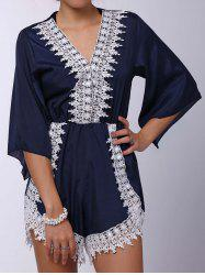 Stylish Plunging Neck 3/4 Sleeve Lace Embellished Women's Romper - DEEP BLUE