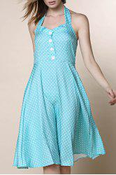 Vintage Halter Polka Dot A Line Dress