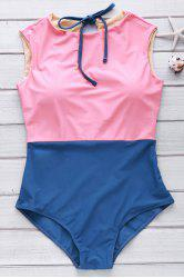 Cute High Neck Color Block Swimsuit - WATERMELON RED M