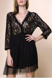 A Line Lace Panel Plus Size Dress