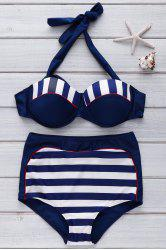 Sexy Halter Striped High-Waisted Women's Bikini Set
