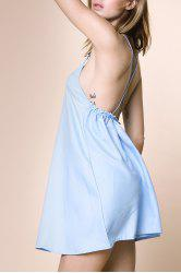 Charming Strappy Cross Back Dress For Women - LIGHT BLUE