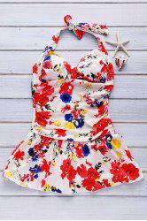 Cute Halter Floral Print One-Piece Swimsuit For Women -