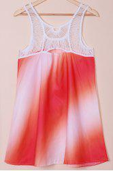 Print Openwork Sleeveless Lace Splicing Bohemia Dress - AS THE PICTURE