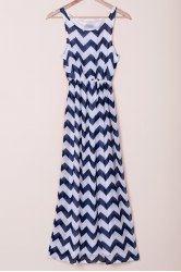 Scoop Collar Sleeveless Chevron  Maxi Dress