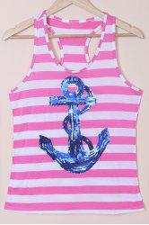 Casual Scoop Neck Striped Sequined Anchor Tank Top For Women