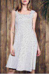Retro Style Square Neck Sleeveless Polka Dot Dress For Women