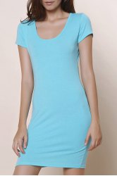 Stylish Short Sleeve U-Neck Solid Color Women's Bodycon Dress - BLUE S