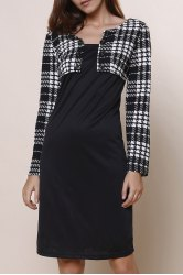 Elegant Round Collar Plaid Splicing Long Sleeve Dress For Women - BLACK