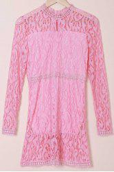 Hollow Out Lace Long Sleeve Dress - PINK
