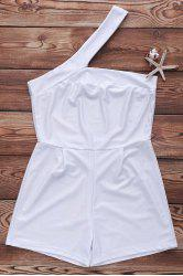 Sexy One-Shoulder Cut Out White Romper For Women -