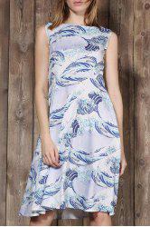 Elegant Sleeveless Sea Wave Printed Ball Gown Dress For Women - LIGHT BLUE