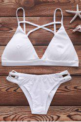 Sexy Spaghetti Strap Cut Out Criss-Cross Solid Color Women's Bikini Set