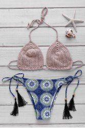 Stylish Halter Crochet Low-Waist Printed Bikini Set For Women