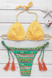 Sweet Colorful Geometric Printed Crochet Halter Bikini For Women