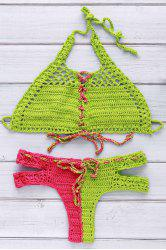 Chic Halter Hit Color Lace-Up Cut Out Crochet Bikini For Women - RED/GREEN L