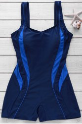 Active Style U Neck Color Block Backless One-Piece Swimsuit For Women