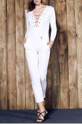 Long Sleeve Lace-Up Deep V Jumpsuit - WHITE M
