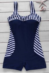 Active Style U Neck Striped Backless One-Piece Swimsuit For Women - PURPLISH BLUE M