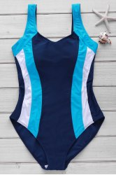 Sexy Style U Neck Color Block Criss-Cross Backless One-Piece Swimsuit For Women